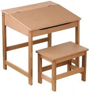 Natural Brown Ready to Paint Kids Childrens Play Study Desk Table and Stool Set