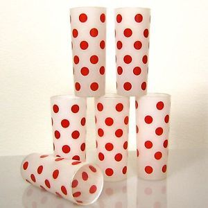 6 Vintage 50's Fire King Frosted Glass Red Polka Dot Tall Drinkware Tumblers