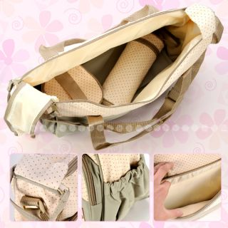 5 Pcs Baby Diaper Nappy Changing Bag Set Bags Cream