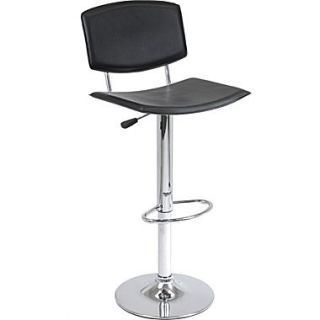 Winsome Spectrum Faux Leather High Back L Shape Air Lift Stool, Black
