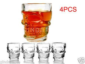 4pcs Crystal Skull Head Shot Glass Cup Drinkware Tumbler for Home Bar Set