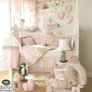 Glenna Jean Baby Girl Pink Victorian Cottage Chic Crib Nursery Quilt Bedding Set