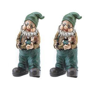 Gnomes Set of 2 Grandpa Garden Gnome with Grandson Lawn Statues Yard Elves New