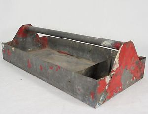 Vintage Galvanized Metal Small Parts Tool Box Tray Tote Carrier Organizer Garden