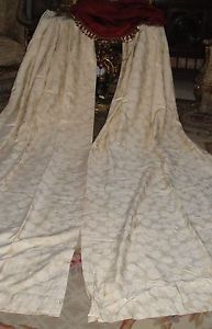 French Antique Pair Silk Brocade 2 of 5 Drapes Panels Curtains Ready to Hang