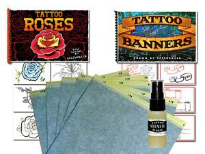 Tattoo Supplies Flash Art Roses Banners Scroll Book Transfer Paper Stencil Magic