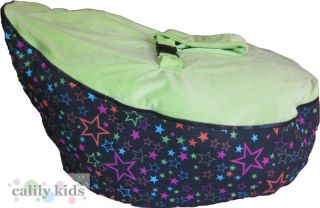 Baby Toddler Kids Portable Bean Bag Seat Black Star Green