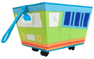 Delta Baby Kids Boys Blue Green Car Truck Bus Toy Box Storage Bin with Wheels NW