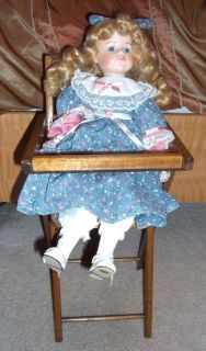 Vintage Baby Doll High Chair Play Kids Toy Furniture Wood Wooden Childrens