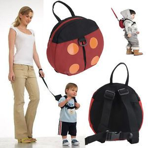 Baby Kids Toddler Canvas Safety Harness Ladybug Anti Lost Backpack School Bag