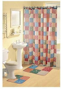 Casual Multicolored Blocks Shower Curtain Bathroom Contour Bath Rug 15 Piece Set
