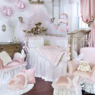 Glenna Jean Baby Girl Pink White Luxury Crib Nursery Bedding Designer Quilt Set