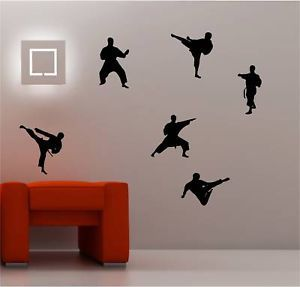 6 x Karate Wall Art Sticker Vinyl Bedroom Decal Kids