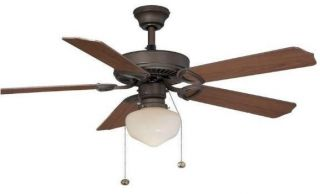 Hampton Bay Tri Mount 52 inch Ceiling Fan with Light Kit Oil Rubbed Bronze