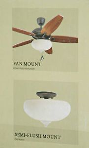 Monte Carlo Semi Flush Ceiling Lighting Fixture or Fan Light Kit Aged Scavo
