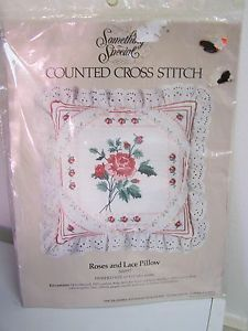 Candamar Something Special Counted Cross Stitch Kit Roses and Lace Pillow Kit