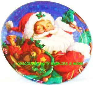 Merry Christmas Santa Claus Dessert Plates 10ct Holiday Paper Plates