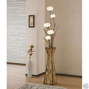 Unusual Elegant Paper Lampshade Art Deco Chic White Shade Floral Tall Floor Lamp