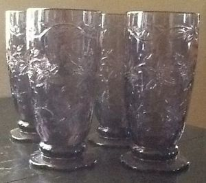Princess House Fantasia Amethyst Crystal Tumblers Footed Purple Glasses USA