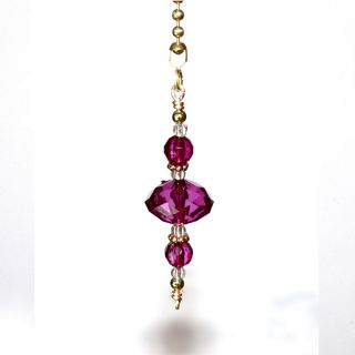 Big Purple Faceted Classy Beaded Decorative Ceiling Fan Light Lamp Pull Chain