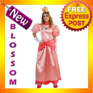 C517 Super Mario Bros Deluxe Princess Peach Fancy Party Dress Adult Costume