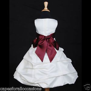 Flower Girl Dress Wedding Pageant Ivory Burgundy Red Wine 2 2T 4 6 8 10 12 14 16