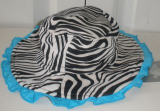 Koala Kids Baby Girls Black White Zebra Print Teal Fashion Sun Hat 0 24M