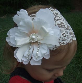 Baby Girls Lace Headband Peony Flower White Ivory Headwrap Christening Wedding
