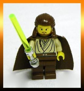 Lego Star Wars Episode 1 Qui Gon Jinn with Yellow Lightsaber Mini Figure Minifig