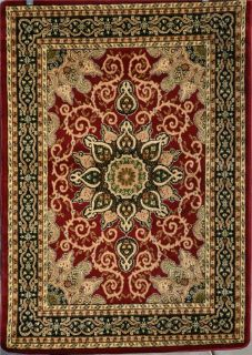 Burgundy Green Beige Black Brown Isfahan Area Rug Oriental Carpet Large New 653