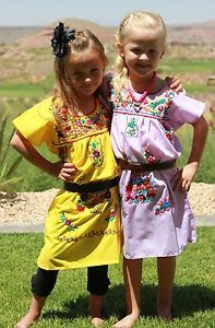 Youth Child Kids Girls Mexican Embroidered Dress Hippie Tunic Smock Sz 1 10