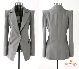 New Spring Women It Girl Slim Fit Business Puff Sleeve Suit Blazer Jacket Coat