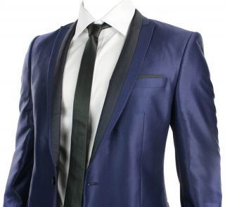 Mens Shiny Slim Fit Wedding Party Suit Blue Black Trim 1 Button Blazer Trouser