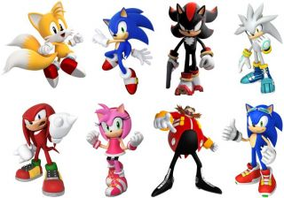 Sonic Hedgehog 8 Characters Set Decal Removable Wall Sticker Home Decor Art Game