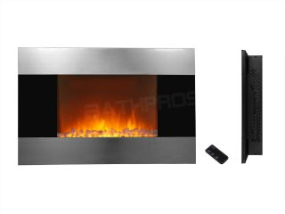 "Electric Wall Mount Fireplace 36"" Glass Pebbles w Remote Control Heater 510DP"