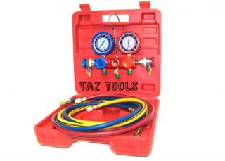 Manifold Gauge Set R134a R12 R22 AC A C 6ft Colored Hose Air Conditioner Freon