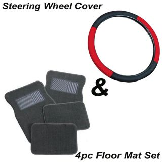 "5pc Set 15"" inch Size Red Black Steering Wheel Cover Gray Carpet Floor Mats"