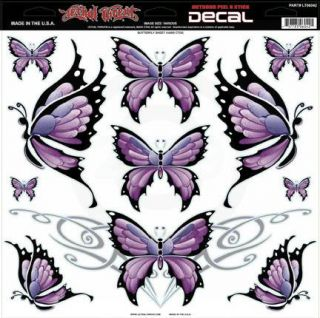 New Lethal Threat Purple Butterfly 12x12 Vinyl Decals Car Truck Window Stickers