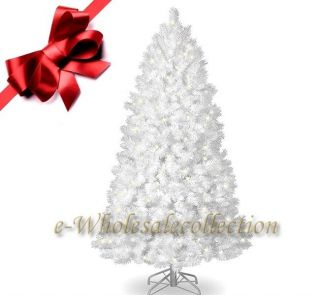 10' Pre Lit Clear Artificial Snow White Christmas Tree 10ft Tall