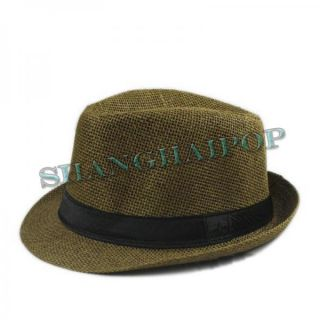 Men's Linen Straw Trilby Sun Hat Fedora Band Panama Pork Pie Crushable Gangster