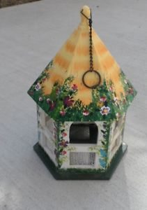 Wood Garden Gazebo Country Hand Paint Flowers Bird Feeder Bird Seed Dispenser