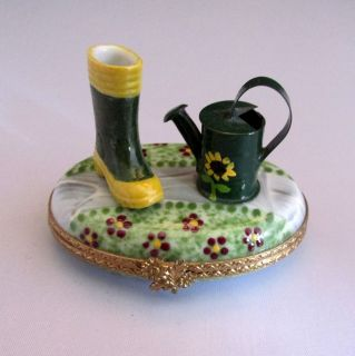 Limoges France Hand Painted Porcelain Trinket Box Garden Tools