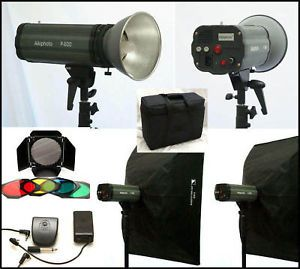 1200W s 2 Studio Strobe Lights 2 Soft Boxes Barnd New