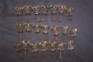Antique Vintage Lot of 21 Clear Glass Drawer Knobs Cabinet Handles with Hardware