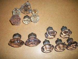 13 Antique Art Deco Vintage Glass Drawer Pulls Cabinet Dresser Door Knobs