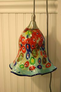Hampton Bay Pendant Lamp Light Millefiori Ceiling Fixture Glass Shade Murano A
