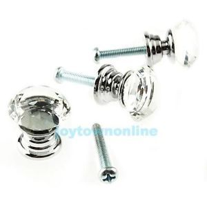 10pc 20mm Crystal Glass Cabinet Knob Drawer Pull Handle Kitchen Door Wardrobe J