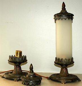 Antique Table Lamps Art Nouveau Frosted Cylinder Glass Shade