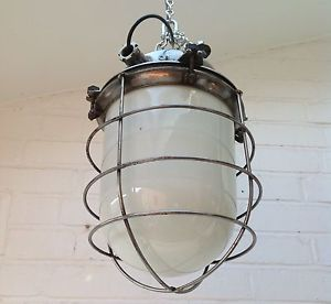 Vintage Industrial Light Lamp Pendant with White Glass Shade Metal Cage
