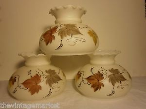 Set 3 Vintage Hand Painted Satin Milk Glass Fall Leaves Glass Globe Lamp Shades